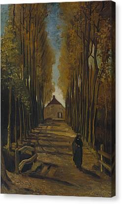 Dutch Landscapes Canvas Print - Avenue Of Poplars In Autumn by Vincent van Gogh