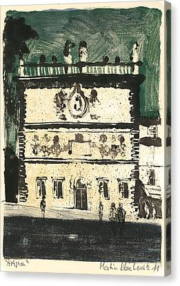 Canvas Print featuring the painting Avignon Historic Building by Martin Stankewitz