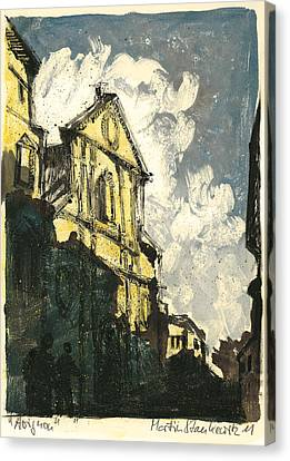 Canvas Print featuring the painting Avignon Provence Street View by Martin Stankewitz