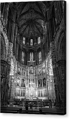 Medieval Temple Canvas Print - Avila Cathedral Bw by Joan Carroll