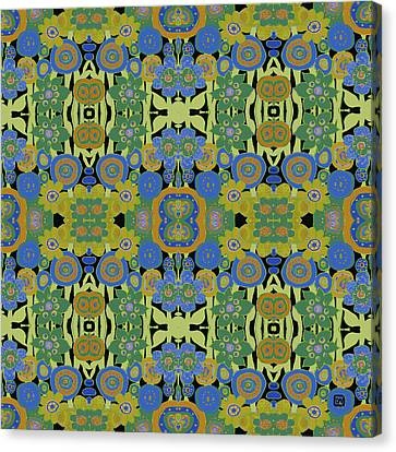 Canvas Print featuring the painting Avocado Blue Pattern by Lisa Weedn
