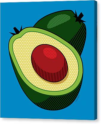Avocado On Blue Canvas Print by Ron Magnes