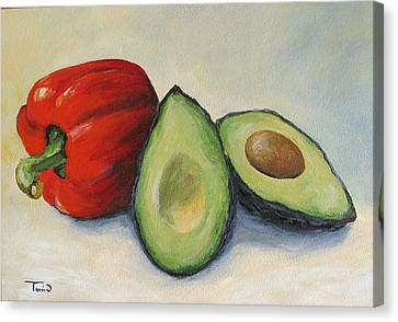 Avocado With Bell Pepper Canvas Print by Torrie Smiley