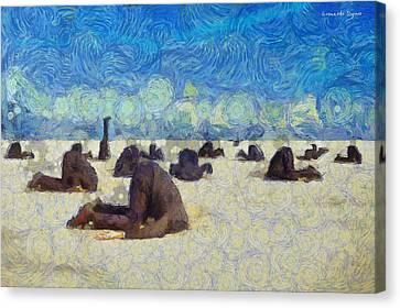 Shore Canvas Print - Avoiding Problems - Da by Leonardo Digenio