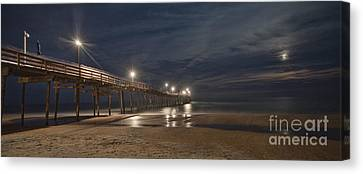 Avon Pier At Night Canvas Print by Laurinda Bowling