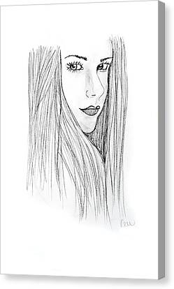 Canvas Print featuring the drawing Avril by Rebecca Wood