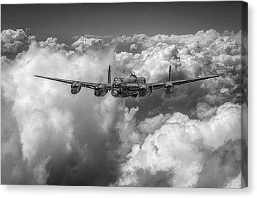 Avro Lancaster Above Clouds Bw Version Canvas Print by Gary Eason