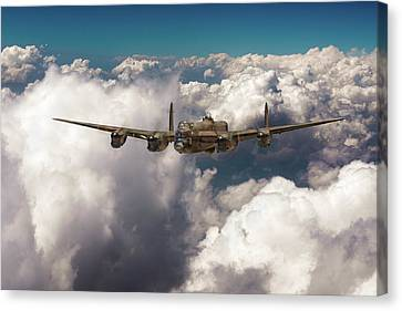 Canvas Print featuring the photograph Avro Lancaster Above Clouds by Gary Eason