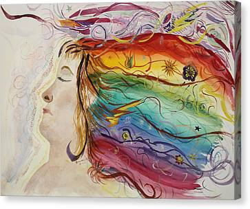 Canvas Print featuring the painting Awakening Consciousness by Donna Walsh