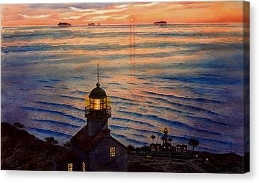 Awesome Sunset At Pt. Loma Lighthouse Canvas Print