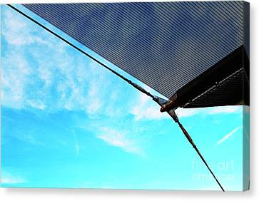Awning Above A Wharf In Marseille Canvas Print by Sami Sarkis