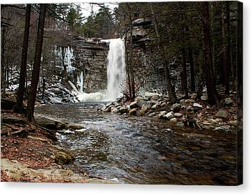 Awosting Falls In January #2 Canvas Print by Jeff Severson