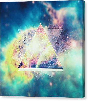 Awsome Collosal Deep Space Triangle Art Sign Canvas Print by Philipp Rietz