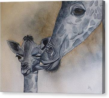 Baby And Mother Giraffe Canvas Print by Kelly Mills