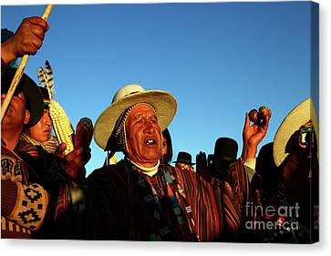 Aymara New Year Harvest Thanksgiving Bolivia Canvas Print by James Brunker