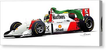 Ayrton Senna Illustration Canvas Print by Alain Jamar