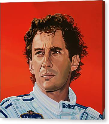 Ayrton Senna Portrait Painting Canvas Print by Paul Meijering