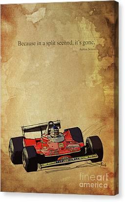 Old Car Canvas Print - Ayrton Senna Quote, Ferrari F1 Race Car, Red Ferrari Racing by Pablo Franchi