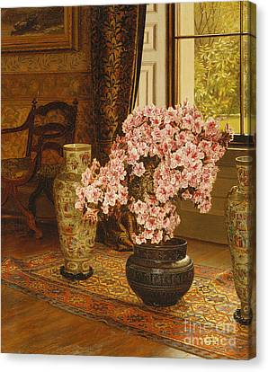 Azalea In A Japanese Bowl, With Chinese Vases On An Oriental Rug Canvas Print