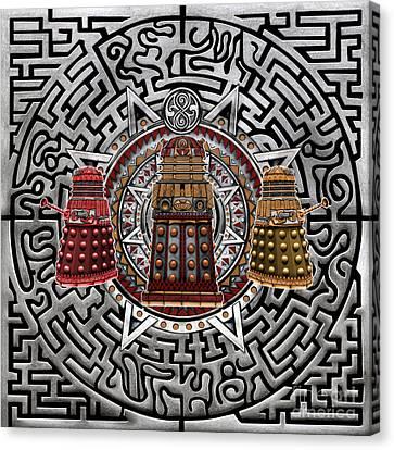 Aztec Retro Robot Canvas Print