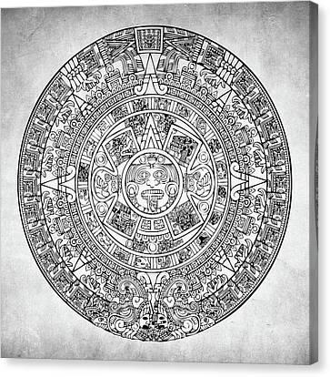 Mayan Mythology Canvas Print -  Aztec Sun by Taylan Apukovska