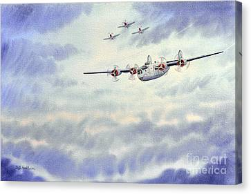 Canvas Print featuring the painting B-24 Liberator Aircraft Painting by Bill Holkham