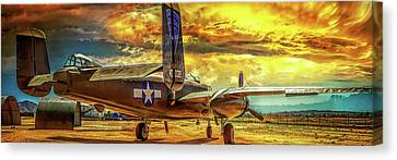 Canvas Print featuring the photograph B-25 Mitchell Bomber by Steve Benefiel