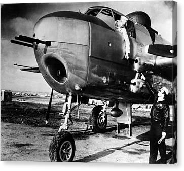 B-25 Mitchell Bomber, Used Canvas Print by Everett