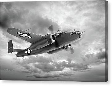 B-25 Mitchell In Black And White Canvas Print by Gill Billington
