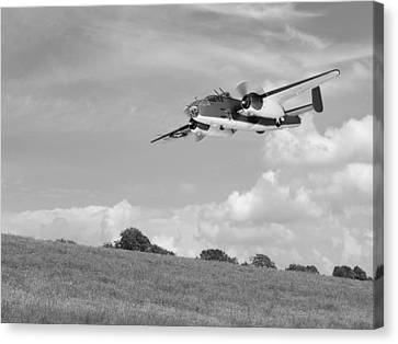 B-25 Warbird Returns - Black And White Canvas Print by Gill Billington