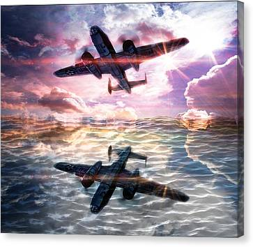 Water Canvas Print featuring the digital art B-25b Usaaf by Aaron Berg