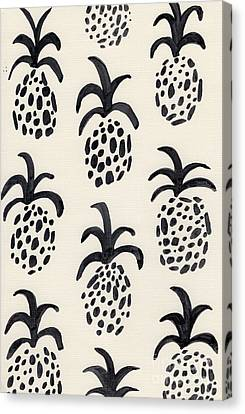 B And W Pineapple Print Canvas Print by Anne Seay