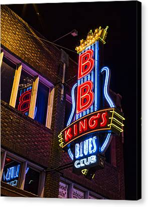 B B Kings On Beale Street Canvas Print by Stephen Stookey