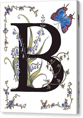 B For Bluebells And A Blue Hairstreak Butterfly Canvas Print by Stanza Widen
