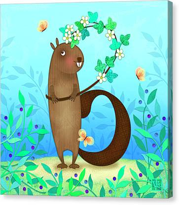 Animal Lover Canvas Print - B Is For Beaver With A Blossoming Branch by Valerie Drake Lesiak
