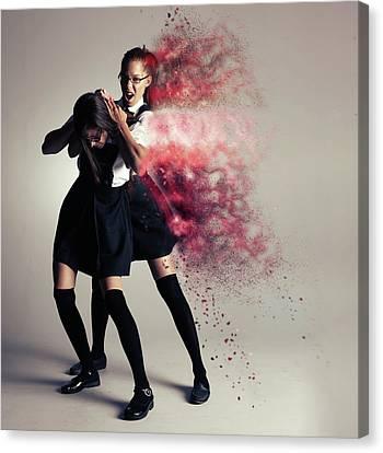 Girl Digital Art Canvas Print - B U L L Y by Nichola Denny