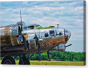 B17 Bomber Side View Canvas Print by Thomas Woolworth