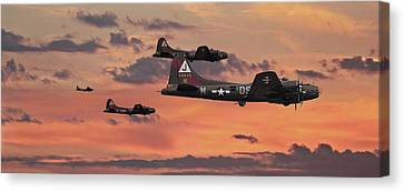 Canvas Print featuring the digital art B17 - Sunset Home by Pat Speirs