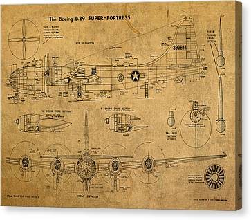 B29 Superfortress Military Plane World War Two Schematic Patent Drawing On Worn Distressed Canvas Canvas Print by Design Turnpike
