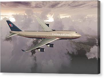 Canvas Print featuring the digital art B747-400  by Mike Ray