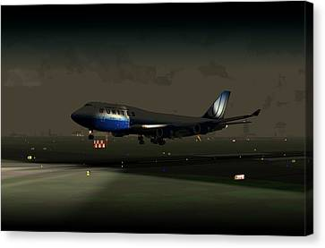 Canvas Print featuring the digital art B747-400 Night Landing by Mike Ray