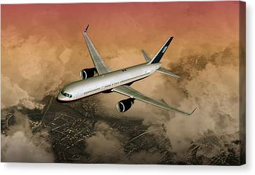 Canvas Print featuring the digital art B757 Dawn Approach by Mike Ray