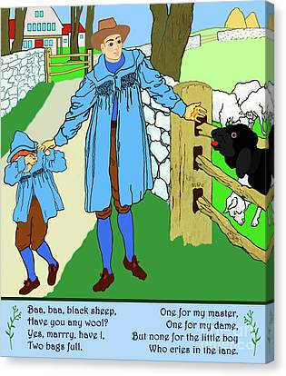 Baa, Baa, Black Sheep Nursery Rhyme Canvas Print by Marian Cates