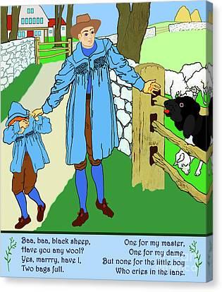 Canvas Print featuring the painting Baa, Baa, Black Sheep Nursery Rhyme by Marian Cates