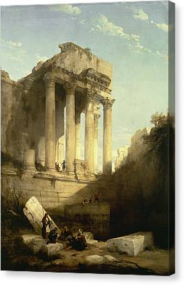 Baalbec - Ruins Of The Temple Of Bacchus Canvas Print by David Roberts