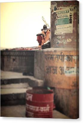 Baba At The Ghats Canvas Print