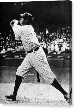 1920s Candid Canvas Print - Babe Ruth 1895-1948 At Bat, Ca. 1920s by Everett