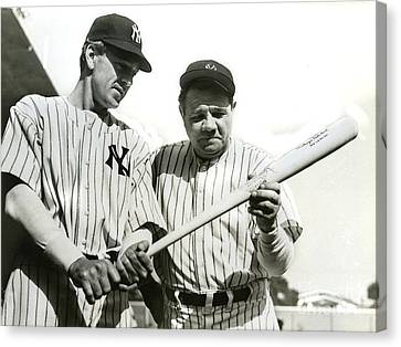 Gehrig Canvas Print - Babe Ruth And Lou Gehrig by Jon Neidert