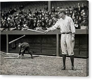 Old Pitcher Canvas Print - Babe Ruth At Bat by Jon Neidert