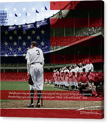 Babe Ruth Baseball Americas Pastime 20170625 Square With Quote Colorized Canvas Print by Wingsdomain Art and Photography